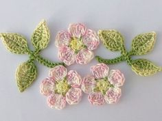 Crochet applique, 3 crochet wild roses and leaves, cards, scrapbooks, appliques and embellishments