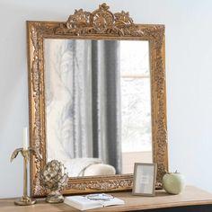 DORINDA gold paulownia carved mirror 75 x 100 cm