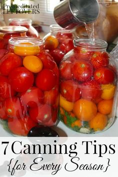 Canning can save you money and prepare your family for hard times or emergencies. Here are 7 Canning Tips for Every Season to help you get started. Home Canning Recipes, Canning Tips, Cooking Recipes, Canning Vegetables, Canning Tomatoes, Canning Pears, Antipasto, Canning Food Preservation, Preserving Food