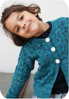 Ravelry: Green Cardigan pattern by 22 rue Ter Knit Cardigan Pattern, Crochet Cardigan, Knit Crochet, Crochet Girls, Crochet For Kids, Knitting For Kids, Baby Knitting, Baby Girl Sweaters, Old Sweater