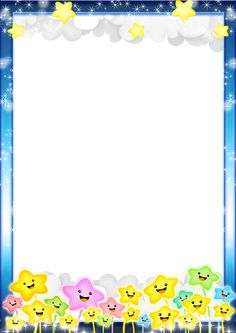 Blue Kids Transparent PNG Photo Frame with Stars Frame Border Design, Boarder Designs, Page Borders Design, Diy And Crafts, Crafts For Kids, Boarders And Frames, School Frame, Kids Background, Baby Frame