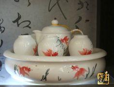 Hand-carved of Jingdezhen ceramics Kung Fu tea sets bone China tea set tea tray Teacup teapot goldfish love http://www.ceramicslife.com/hand-carved-of-jingdezhen-teacup-teapot-goldfish-love.html