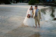 Portia & Eric -- Post-wedding walk on the beach at #lasterrazas #destinationwedding #belize [Kay Scott Photography]