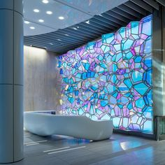Just received photos of our new permanent installation at One State Street from @atanz. If you are downtown stop by and check it out. #dichroic #crystals