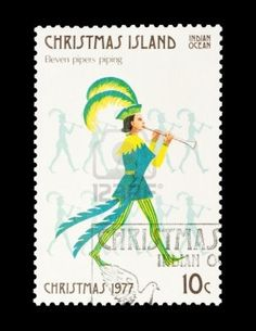 Christmas Island mail stamp featuring the eleventh gift from the Twelve Days of Christmas Stock Photo - 8702730