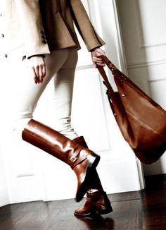 Equestrian look: Brown Boots, Brown Bag, Blazer