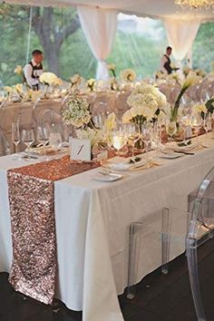Sequin Table Runners for sale. Buy your own Sequin Table Runners now, at… Table Decoration Wedding, Gold Wedding Decorations, Wedding Themes, Wedding Centerpieces, Wedding Venues, Centerpiece Ideas, Quinceanera Decorations, Rose Gold Centerpiece, Long Table Centerpieces