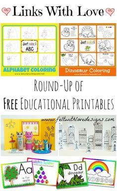 Links With Love: FREE Printable Educational Coloring Activities - Great for Dry Erase Binder Busy Bag {Felt With Love Designs}