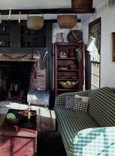 antique baskets, fireplace, stenciling