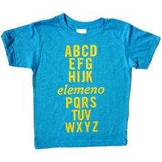 Possibly the coolest alphabet tee ever!   Neon blue tee is from American Apparel, 100% cotton, and made in the USA.  Available in sizes:  Short Sleeved Toddler Tee  2T, 4T, 6
