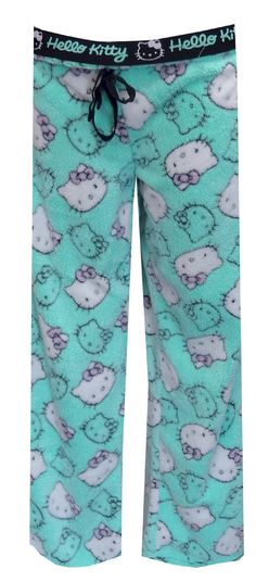 Hello Kitty Faces Aqua Plush Lounge Pants These cozy lounge pants for women feature Hello Kitty Faces in an all-over print on a super soft aqua plush fleece fabric. These cozy pants have a covered elastic waistband with adjustable tape tie. The inside of the fold down waist band says Hello Kitty. Junior cut.