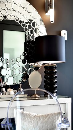 Dawna Jones Design. love this look and colors. Love the mirror and the lamp.