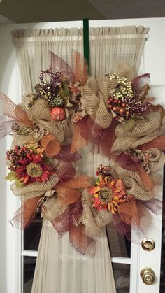 Fall mesh wreath I made for my front door!