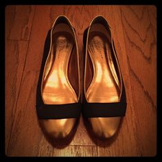 Gold and Black Flats Gold and black flats. Shoes are still good great condition. Shoes Flats & Loafers