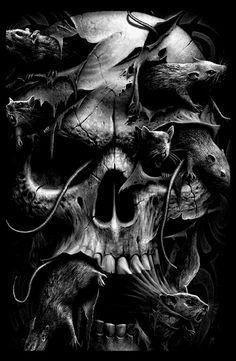 skull infested by rats skulls and bones pinterest totenk pfe sch del und tattoo ideen. Black Bedroom Furniture Sets. Home Design Ideas