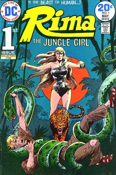 Joe Kubert cover to Rima, the Jungle Girl #1, published by DC Comics, April 1974.