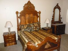 early 1800's wood bed & marble top dresser/mirror, end tables (custom made) #unknown