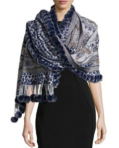 Reversible Cashmere Fur-Trim Wrap, Navy by Gorski at Neiman Marcus Last Call.