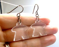Meeple Earrings Transparent Polished Acrylic by epicycledesigns