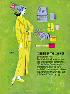"""Barbie's """"Singing in the Shower"""" ensemble. Barbie Bath, Mattel Barbie, Barbie And Ken, Barbie Barbie, Vintage Barbie Clothes, Vintage Dolls, Vintage Outfits, Vintage Pyrex, All American Doll"""