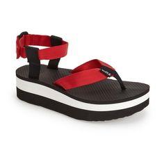 """Teva 'Original' Flatform Sandal, 1 3/4"""" heel ($25) ❤ liked on Polyvore featuring shoes, sandals, formula one red, teva sandals, mid heel sandals, platform sandals, sport shoes and flatform sandals"""