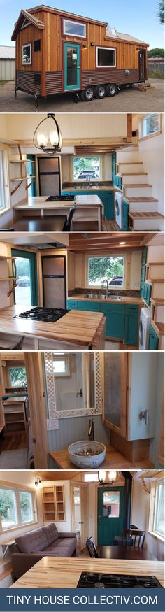 A custom x tiny home with a wood burning stove and full kitchen. A custom x tiny home with a wood burning stove and full kitchen. Lofts, Tiny House Plans, Tiny House On Wheels, Tiny House Nation, Tiny Spaces, Tiny House Living, Tiny House Design, House Layouts, Little Houses