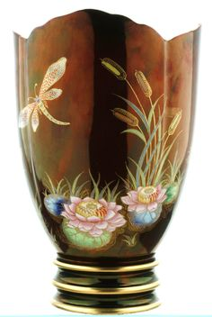 Antiques Atlas - Huge Carlton Ware Dragonfly And Lily Vase C1950's