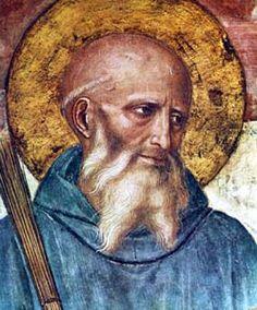 san benito - detalle de la Crucifixión con santos de Fran Angélico