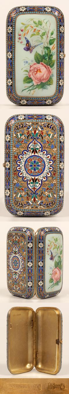 A Russian silver gilt, cloisonne and en plein enamel cigarette case, Ovchinnikov, Moscow, Circa 1885. Of rectangular form with rounded corners, the case decorated with en plein enamel floral and butterfly motif within a border of turquoise enamel beads surrounded by scrolls and stylized white enamel flowers, the reverse decorated in scrolling multi-color floral designs around a central medallion.