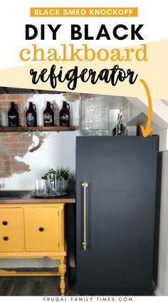 A budget DIY knock-off of a very expensive brass and matte black Smeg fridge. Here's how to chalkboard paint fridge to look like a black Smeg fridge. One of the biggest project wins: figuring out a very affordable appliance handle alternative! This makeover was very affordable coming in at about $50. Part of our DIY basement wet bar makeover.