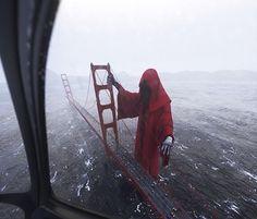 A Creepy Hovering Gigantic Grim Reaper Menacingly Grasps the Golden Gate Bridge in San Francisco