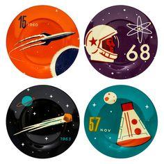 Тарелки 'Cosmonaut', набор 4 шт
