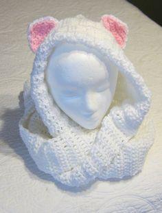 Crochet Hooded ScarfCat ScarfCat EarsWhite Hooded by Kitkateden