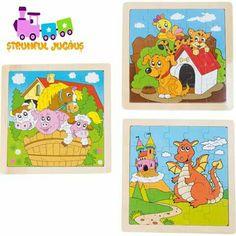 Rezolva un puzzle superb impreuna cu strumfisorul tau! 3 puzzle-uri formate din cate 25 de piese din lemn.  Desenul frumos colorat cu o oaie, un caine si un dragon in centru puzzle-ului insemna distractie pentru toate gusturile. www.strumfuljucaus.ro