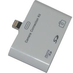 3 in 1 SD Micro SD Karten Leser + Kamera USB Anschluss f. Apple iPad mini  3-in-1 Kamera-Anschluss-Kit für das iPad 4 und iPad mini, damit können Sie ihre Fotos direkt von der Speicherkarte oder Kamera auf ihrem iPad anzeigen, oder speichern.