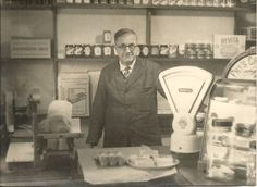 UK. Grocery Shop Interior c1950. bacon Slicer, Fry's Chocolate Cabinet etc.