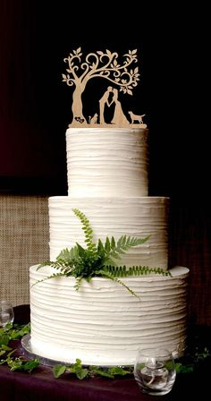 Wedding Cake Toppers With Cat and Dog mr and mrs topper custom cake topper silhouette personalized topper initial cake topper bird tree