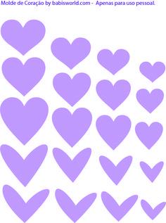 moldes de coração 2 Molde do Dia: Corações