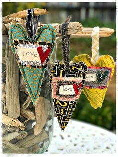 """Stephanie Knudtson Ackerman My """"When Art & Faith Collide"""" Online Self-Paced Workshop just opened Valentine Decorations, Valentine Crafts, Christmas Crafts, Valentines, Xmas, Sewing Art, Sewing Crafts, Sewing Projects, Fabric Hearts"""