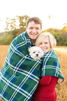 Windsor Castle Park couple session with fleece blanket and dog. Cozy!