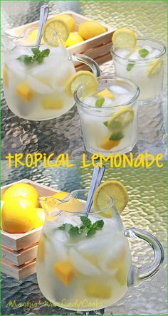 Tropical Lemonade made with frozen mango and pineapple chunks to keep it cold longer.  Click through to see more easy to make refreshing drinks http://wp.me/p3sX9D-2Ci