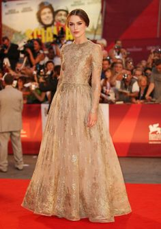 Keira Knightley nude golden gown valentino middle parted brown hair