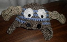 Crochet Baby Moose Hat with Earflaps Infant Boys by crafthappenz