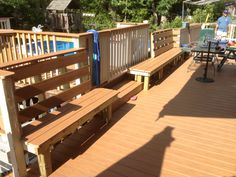 Built in benches on deck Porch Ideas, Backyard Ideas, Outdoor Projects, Outdoor Decor, Fire Pit Patio, Built In Bench, Home Improvement Projects, Benches, Sweet Home