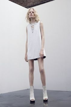 Theyskens' Theory Resort 2014: The edgy girl's little white dress. Photo courtesy of Theyskens' Theory