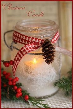 Christmas jar with epsom salt and faux snow (from Aiken House & Gardens)