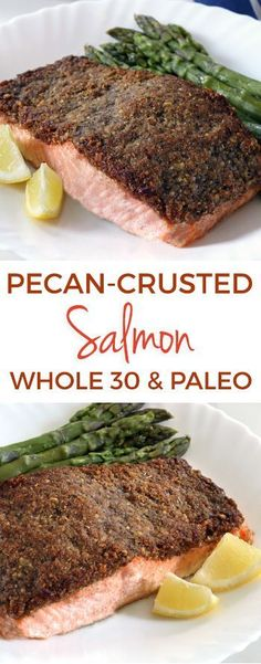 Pecan-crusted Salmon paleo, keto) – Texanerin Baking This paleo and pecan-crusted salmon is an easy way to transform salmon into something extra delicious! Grain-free, gluten-free and dairy-free. Fish Recipes, Lunch Recipes, Seafood Recipes, Healthy Recipes, Paleo Food, Paleo Vegan, Asian Recipes, Healthy Foods, Keto Recipes