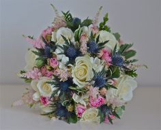 Rose and blue thistle bouquet | English rose and Scottish thistle bouquet given a soft, summer twist ...
