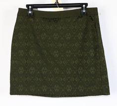 NWT Banana Republic Hunter Green Printed Mini Skirt 8 #BananaRepublic