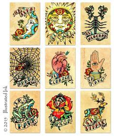 Old School Tattoo Moon Art LA LUNA Loteria Print von illustratedink